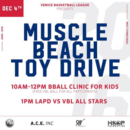 Come out this Sunday for our 1st Toy Drive of the year + Ball Give Away and clinic with the @lapdhq all united for the love of the game and giving back!! . . #vbl #lapd #gameneverstops #holidayseason #toydrive #veniceball #wegiveaball