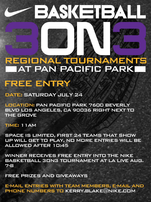 Nike 3on3 FREE Regional Tournament @ Pan Pacific Park, Venice Beach and HAX