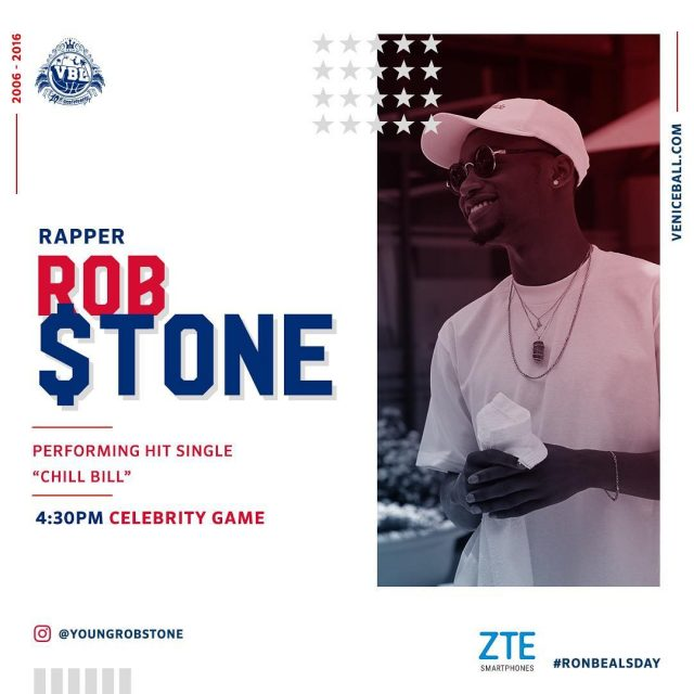 youngrobstone performing 3pm and playing in celebrity game ronbealsday