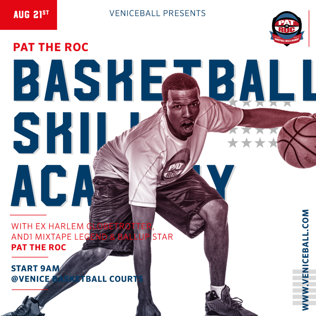 Don't miss out on this chance to learn from one of the best to ever do it @pattheroc - get your #handlesonice before you go back to school . . #vbl #pattheroc #anythingispossible #veniceball #gameneverstops #skillsacademy #bballcamp #venicebeach #kidsclinic